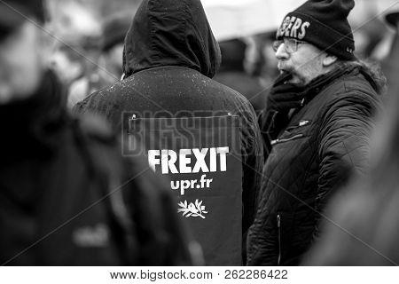 Strasbourg, France - Mar 22, 2018: People Gathering In Place Kleber Square During Cgt General Confed