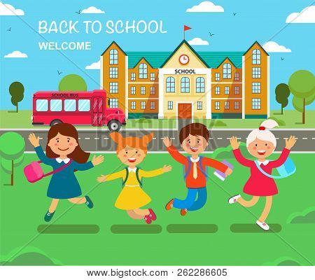 Study At School. Vector Flat Illustration. Happy Children Are Jump In Outdoors Of School Building. B