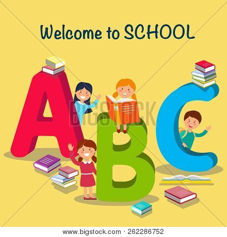 Study At School. Children Font In Cartoon Style. Schoolchildren Learn Alphabet. Colored Letters And