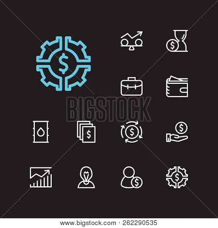 Economy Icons Set. Time Money And Economy Icons With Financial Management, Assets And Stability. Set