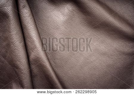 Brown genuine leather vintage wavy as background wallpaper with copy space  poster