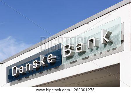 Viby, Denmark - October 7, 2018: Danske Bank Building In Denmark. Danske Bank Is The Largest Bank In