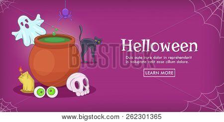 Haloween Spooky Horizontal Banner Concept. Cartoon Illustration Of Haloween Spooky Horizontal Banner