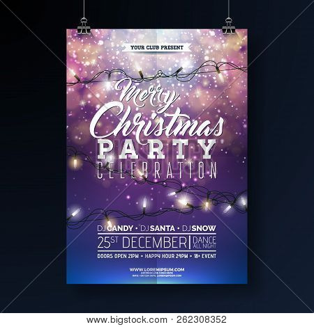 Christmas Party Flyer Illustration With Lights Garland And Typography Lettering On Shiny Blue Backgr