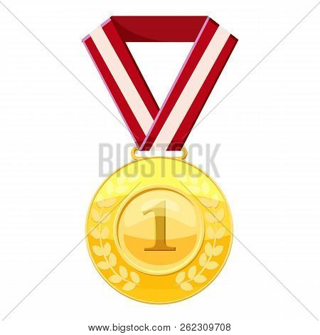 Gold First Place Medal On A Red Ribbon Icon. Cartoon Illustration Of Gold First Place Medal On A Red