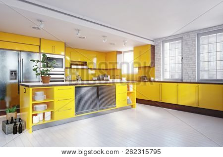 modern yellow color kitchen interior. 3d rendering design concept