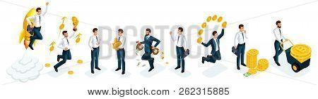 Isometrics Set Of Businessmen, Investors, Speculators, Financial Market Players, Bankers, Financial