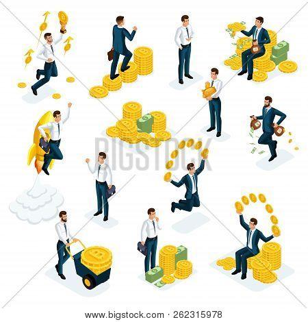 Isometrics Businessmen, Investors, Speculators, Financial Market Players, Bankers, Financial Investm