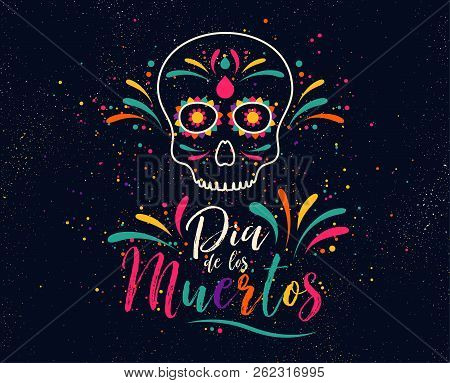 Dia De Los Muertos Or Day Of The Dead. Skull Banner For Mexican Halloween Celebration. Traditional M