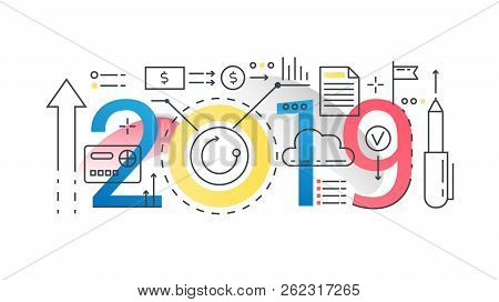 Finance 2019 Word Trendy Composition Concept Banner. Outline Stroke Business, Finance, Investment An