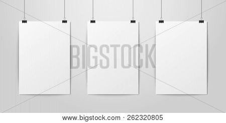 Three Vector Realistic White Blank Vertical A4 Paper Poster Hanging On A Rope With Binder Clip Set O
