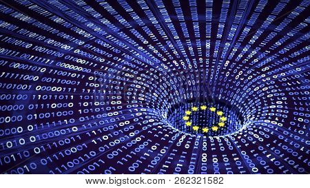 EU GDPR data bytes falling into a wormhole with EU stars. 3D illustration poster