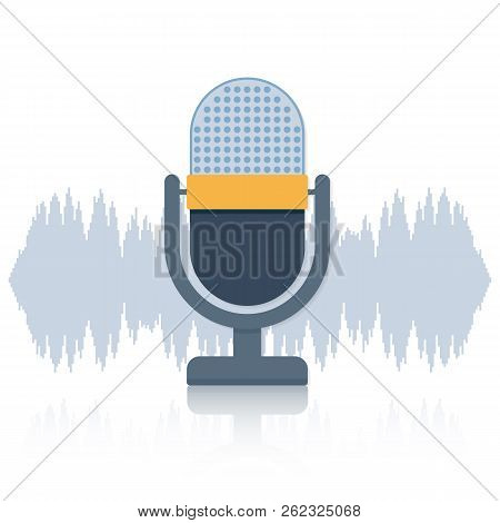 Podcast. Microphone With Speech Bubble Icons. Vector Stock Illustration.