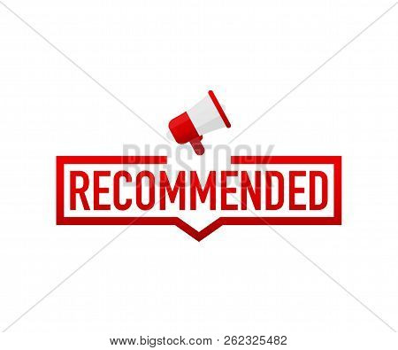 Red Label Recommended On White Background. Vector Stock Illustration.