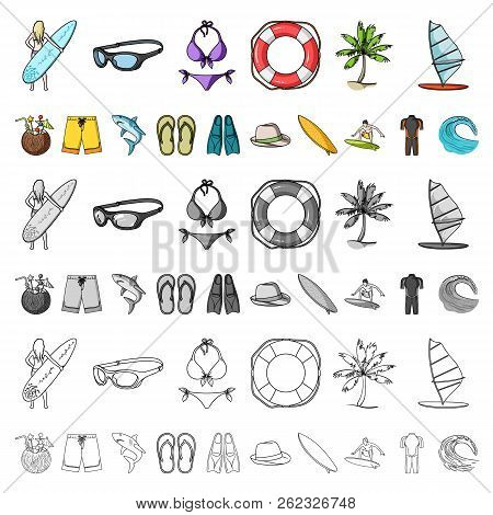 Surfing And Extreme Cartoon Icons In Set Collection For Design. Surfer And Accessories Vector Symbol
