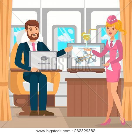Businessman In Airplane, Business Trip. Development Of International Business. Service In Plane, Ste