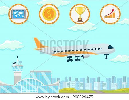 Development Of International Business. Business Trip And Flight In Plane. Start Up Technology Concep