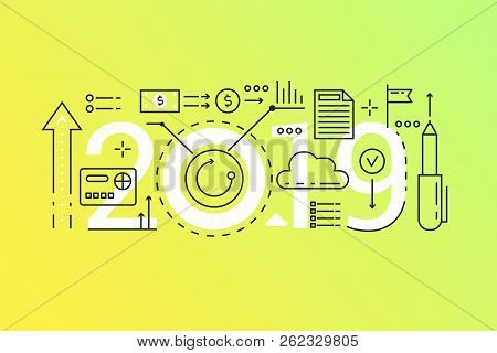 Finance 2019 Word Trendy Composition Concept Banner. Outline Stroke Business, Investment, Finance An