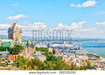 View Of Old Quebec Skyline And Surrounding Landscape With Chateau Frontenac, Dufferin Terrace Boardw