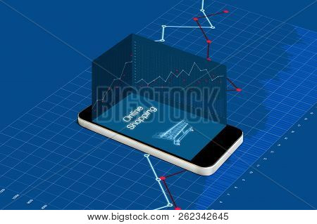 Online Shopping And Investment In Online Retail Shop Business. Mobile Smart Phone With Raising Graph