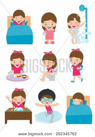 Daily Routine Activities For Kids With Cute Girl,routines For Kids, Daily Routine Of Child, Little C
