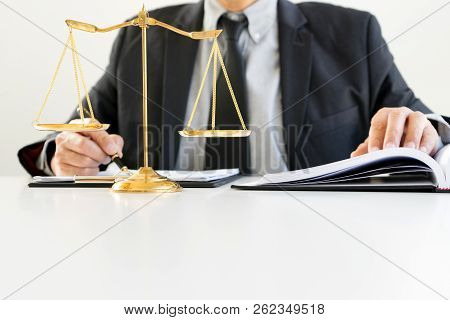 Judge Gavel With Justice Lawyers, Businessman In Suit