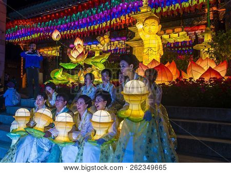 Seoul - May 11 : Colorful Lantern Decoration At Jogyesa Temple During The Lotus Lantern Festival In