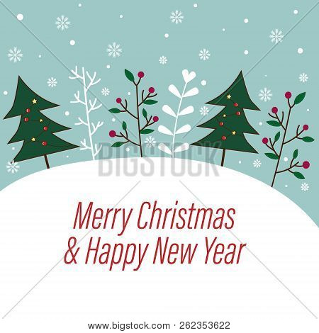 Sweet And Beautiful Christmas And Happy New Year Background. Xmas Wallpaper With Pastel Blue Sky And