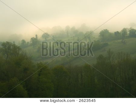 Rolling Hills In The Mist