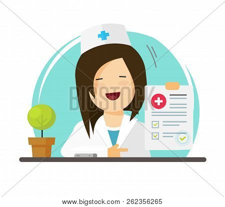 Doctor Showing Good Diagnosis Results, Flat Cartoon Happy Woman Medic Or Physician With Paper Docume