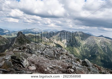 View From Placlive Mountain Peak On Rohace Mountain Group In Zapadne Tatry Mountains In Slovakia Wit