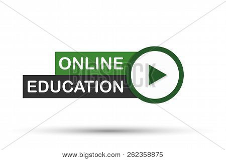 Online Education Icon, Flat Design Style With Red Play Button. Vector Stock Illustration.