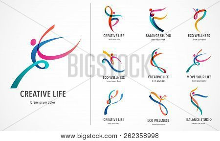Abstract People Logo Design. Gym, Fitness, Running Trainer Vector Colorful Logo. Active Fitness, Spo