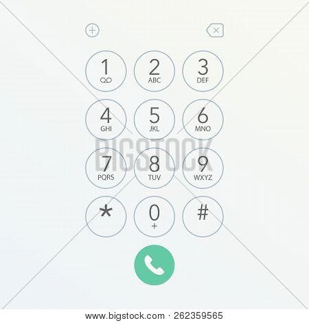 Smartphone Dial Keypad Screen Vector Stock Illustration.