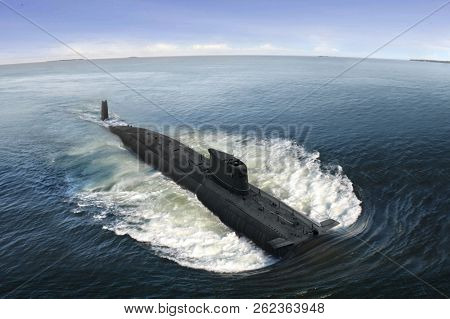 Naval Submarine On Open Sea Surface With Cloudy Blue Sky