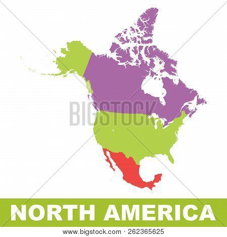 North America Map Icon. Flat Vector Illustration. North America