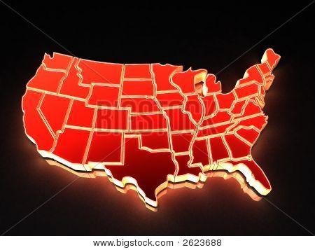 Karte der Usa. 3D