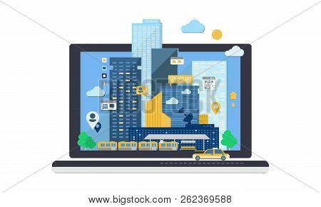 City Andscape On Laptop Computer Screen, Skyscraper Buildings, Cityscape Vector Illustration On A Wh