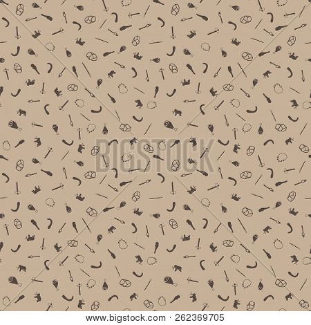 Stone Age Themed Freehand Drawings Seamless Pattern. Hand Drawn Stone Age Elements Background. Stone