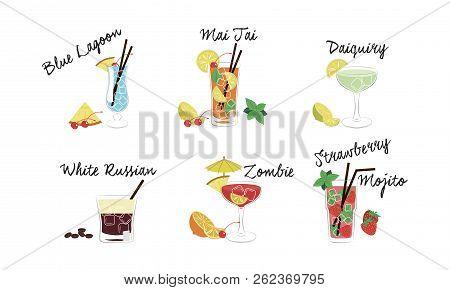 Alcoholic Cocktails Set, Blue Lagoon, Mai Tai, Daiquiri, White Russian, Zombie, Strawberry Mojito Ve