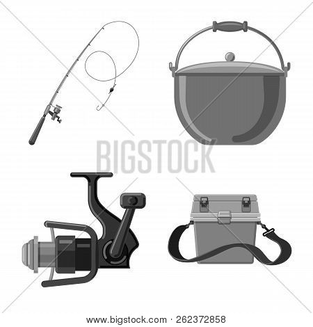 Isolated Object Of Fish And Fishing Icon. Collection Of Fish And Equipment Stock Vector Illustration
