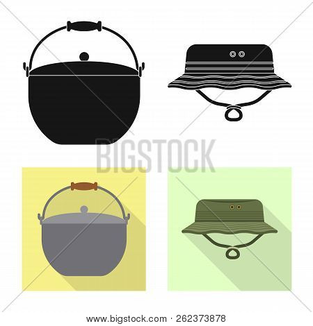 Vector Design Of Fish And Fishing Sign. Set Of Fish And Equipment Stock Vector Illustration.