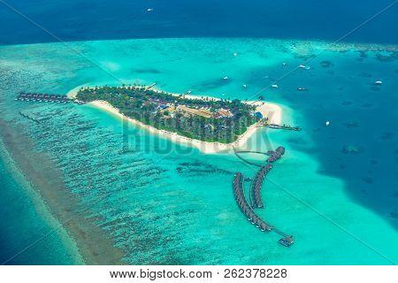Aerial View On Maldives Island, Ari Atoll. Tropical Islands And Atolls. Summer Holiday Beach Landsca