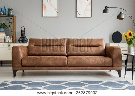 Patterned Blue Carpet In Front Of Brown Leather Sofa In Grey Living Room Interior With Posters. Real