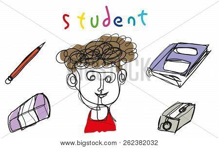 Simple Line Illustration Student.   Simple Line Illustration Student With Book, Pencil, Sharpener, E