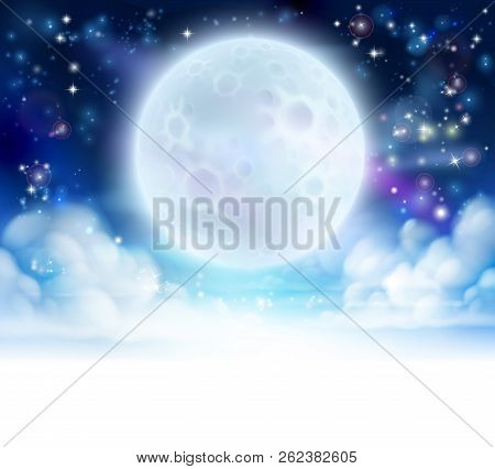 Moon Night Sky Background With Clouds And Stars. Fades To White At The Bottom For Easy Use As Border