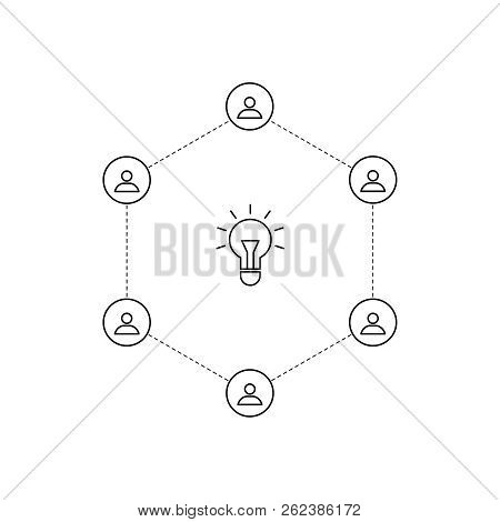 Vector Outline People And  Lightbulb. Business Meeting. Idea Design. Brainstorming. Outline Brainsto