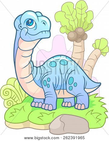 Cartoon, Little, Cute Dinosaur Apatosaurus, Funny Illustration