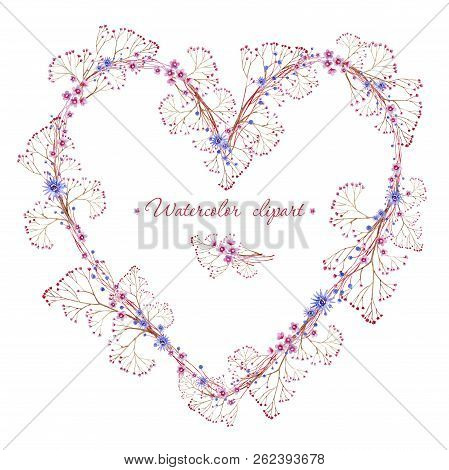 Floral Blue And Pink Wreath With Branches Heart Shaped. Cliparts For Wedding Design, Artistic Creati