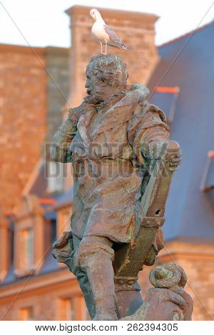 Saint Malo, France - August 31, 2018: Close-up On The Statue Of Jacques Cartier (a French Navigator